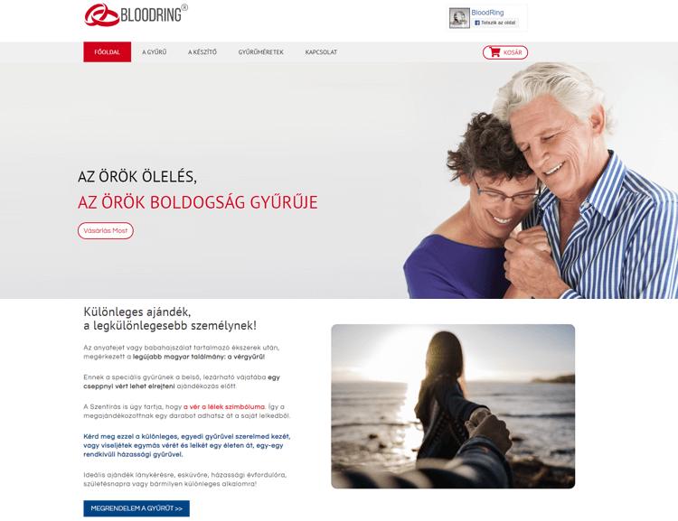 A magyar fejlesztésű Boldogság gyűrű magyar nyelvű salse weboldala, PayPal fizetési lehetőséggel, gyűrű méret választóval, postaköltség kalkulátorral és automatikus kedvezményes árszámítással. Marketing szövegezéssel, kimondottan a magyar nyelvű célközönségre szabva.