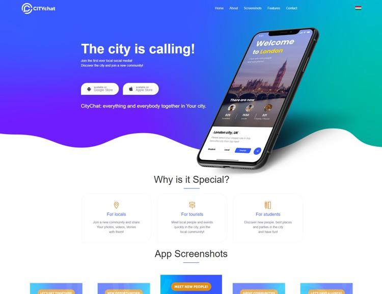 Szegedi kezdeményezésű startup projekt ismertető weblapja. A weboldalon az angol nyelvű applikáció szolgáltatásait ismerhetik meg a látogatók két nyelven is. Az ingyenes városi csevegő alkalmazás letölthető Androidos okostelefonra és IPhone készülékekre is az honlapon keresztül.