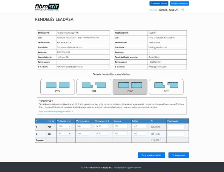 A Fibrotermika Kft Magyarország egyik vezető szigetelőanyag gyártó és forgalmazó cége. A kizárólag üzleti partnereik számára elérhető online webáruházukat fejlesztette cégünk. A komplex rendszer egyedi API-n keresztül kommunikál a cég SAP programjával és szolgálja ki a munkatársakat és megrendelőket.