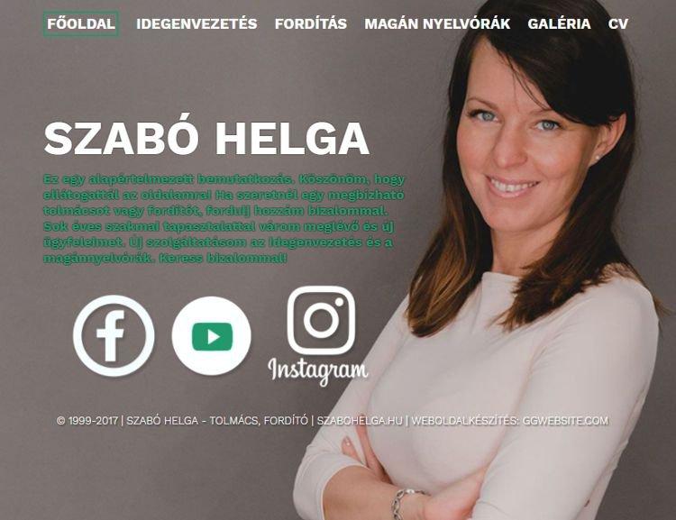 Szegedi fordító, idegenvezető és angol tanár személyes weboldala. A többnyelvű webportál egyedi grafikai megoldásokat tartalmazott és 100%-osan az ügyfél igényei alapján készült. Szerkeszthető eseménynaptárral, bloggal, ajánlatkérő rendszerrel és beszámoló beküldési lehetőséggel.