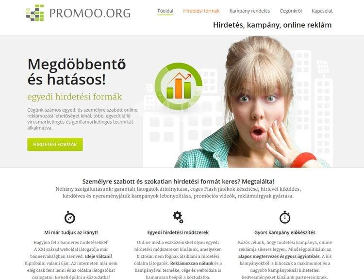 Innovatív online marketing megoldásokat kínáló szegedi cég bemutatkozó weboldala. A szolgáltatások népszerűsítését, a referencia munkák bemutatását és azok árait tartalmazta a weboldal. A portál különlegessége a rendelhető, egyedi, logózott reklámvideó készítése volt.