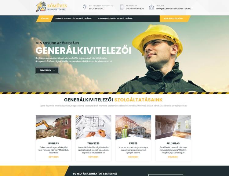 Egy fővárosi kőműves cég egyedi, reszponzív weboldala, amely modern megjelenésével szolgálja ki, a 20 éve szakmai tapasztalatra visszatekintő budapesti csapatot. A portálon a hasznos információk mellett, szolgáltatás leírások, megbízói vélemények és árajánlatkérő modul is helyet kapott.