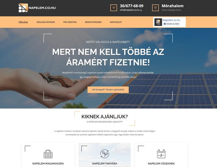 Napelem rendszer Mórahalom és Szeged 100 km-es körzetében. A modern, letisztult és reszponzív weboldal bemutatkozást, szolgáltatáokat, kapcsolatfelvételi űrlapot és napelemes pályázatokat tartalmaz. E projekt fejlesztése már a Mórahalom városkártya kedvezményeit élvezte.