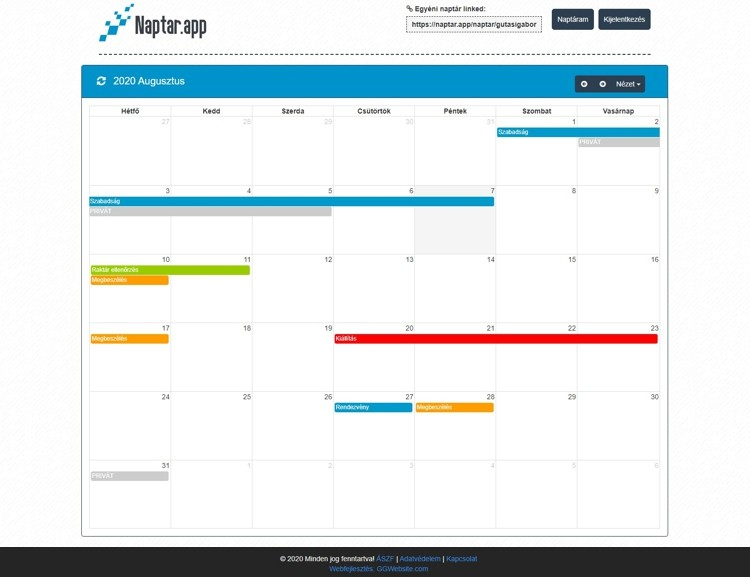 Fullcallendar alapú egyéni időbeosztó és foglaló naptár rendszer Facebook felhasználó kezeléssel. A naptár app Kezeli a privát és publikus eseményeket, a színeket, folyamatos időpontokat, a meghívásokat és a helyszíneket is. Invitáláskor értesítést küld, amelyet elfogadhatunk vagy elutasíthatunk.