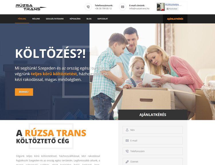Szeged egyik legismertebb költöztető cégének, különböző szolgáltatásait bemutató weboldala online árajánlatkérővel, képgalériával, egyedi blog motorral. A honlapon megismerkedhetünk a legnépszerűbb szolgáltatásaikkal: a költöztetéssel, az iroda áttelepítéssel, a hagyaték elszállítással és az áruszállítással.