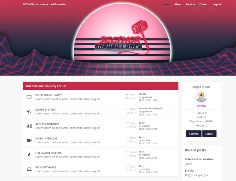 Egyedi fejlesztésű, anngol nyelvű biztonságtechnikai fórum, saját adminisztrációs vezérlőpulttal. Az ügyfél kérésére, külön szolgáltatásként egy zárt, saját projektmenedzselő, időbeosztó és költségkalkuláló felület is a portál részét képezi majd.